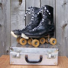 @Jocelyn Szymanski  Vintage Men's Combat Boot Style Rollerskates.  in case you dont know what to do with your combat boots