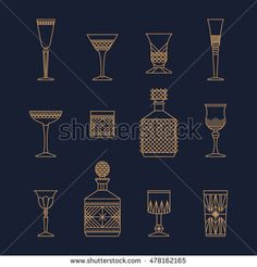 Bar crystal glasses vector icons set, thin line style. Vector flat illustration