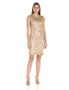 Tadashi Shoji Women's Corded Lace-Cap Slv Dress, Light Gold, 2 >>> More info could be found at the image url.