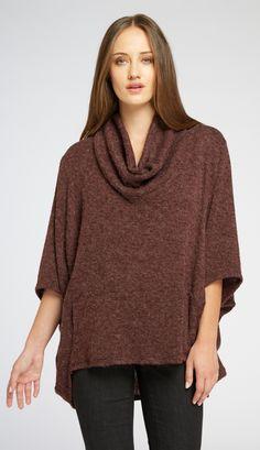 Cowl Neck Dolman Sleeve Sweater in Burgundy