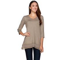 Keep it casual with this French terry top from LOGO Lounge. QVC.com