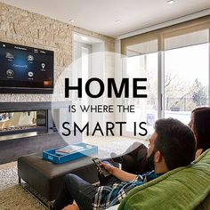 """Press the """"Movie"""" button on your remote and the TV turns on, the movie starts itself, the fireplace ignites, and the lights automatically dim. Couching down for movie night has never been so easy or comfortable. After all, home is where the smart is. #smarthome #homeautomation #movienight"""