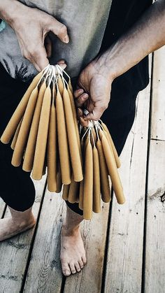 Hand-dipped beeswax candles.