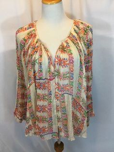 FP ONE~FREE PEOPLE✨Floral Invasion Button Front Blouse~M✨Boho Hippie Chic✨EUC ❤️ #FPONEFREEPEOPLE #Blouse #Casual