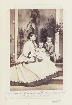 Carte De Visite Depicting A Full Length Portrait Of Olga Clara Princess Lowenstein Wertheim Freudenberg With Two Her Children
