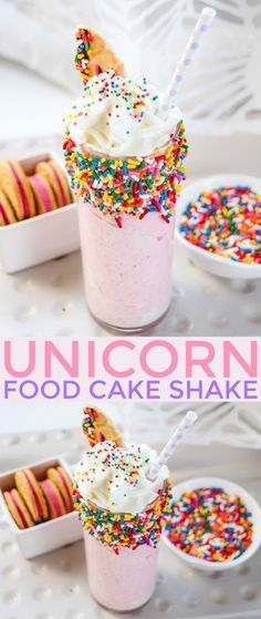 This Unicorn Food Cake Shake is the perfect addition to any unicorn themed birthday party or for anyone addicted to everything and anything unicorn. This milkshake doesn't only look adorable, it tastes delicious too! by adrian Shake Recipes, Smoothie Recipes, Smoothies, Yummy Treats, Sweet Treats, Yummy Food, Unicorn Foods, Festa Party, Frozen Treats