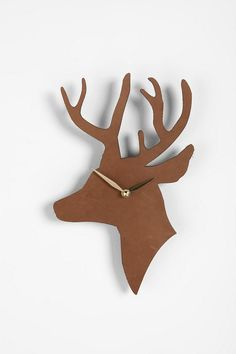 Leather deer clock