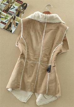 Veľkoobchod Názov produktu Snapshot produktu Single Manteau 2014 Autumn Suede Fabric Cotton Vest Jacket Coat Fashion ženy nosia Nenáročné Cardigans vynosiť Dámske zateplené vesty