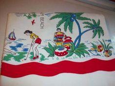 Vintage FLorida tablecloth - 40's