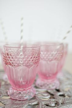 pink glass.  Love these!