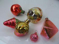 Vintage set of 6 Christmas glass decorations decorChristmas Vintage Christmas Ornaments, Christmas Presents, Christmas Tree Decorations, 1970s, Glass, Beautiful, Xmas Gifts, Xmas Tree Decorations, Drinkware