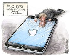 Trump Narcissus and the reflecting pool. Political Satire, Political Cartoons, Trump Cartoons, Political Science, Funny Cartoons, Trump Tweets, Statements, Narcissist, Just In Case