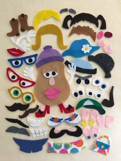 Mr & Mrs Potato Head Felt Board Pattern for the Classic Game Felt Crafts Kids, Felt Kids, Crafts With Felt, Yarn Crafts, Paper Crafts, Felt Board Stories, Felt Stories, Flannel Board Stories, Felt Board Patterns