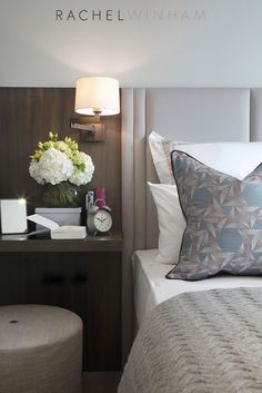 Luxury bedroom design ideas with upholstered headboard and wood stained side table in modern style w Hotel Bedroom Design, Master Bedroom Design, Home Bedroom, Bedroom Decor, Hotel Inspired Bedroom, Master Bedrooms, Bedroom Ideas, Home Design, Bed Design