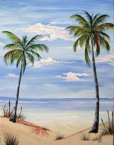 Beach Painting - Beach Scene by Gloria E Barreto-Rodriguez Beach Scene Painting, Easy Canvas Painting, Canvas Art, Beach Paintings, Palm Tree Paintings, Canvas Paintings, Ocean Scenes, Beginner Painting, Jolie Photo
