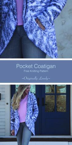 70a2a6106019 Free Knitting Pattern   Pocket Coatigan   Originally Lovely Schön Stricken,  Weste Jacke, Jacken