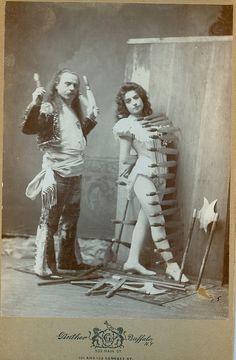 Antique cabinet photo from victorian age Gustavo Arcaris  and  Kate  ...Knife Throwing in their circus act
