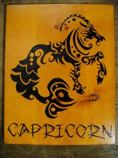 Capricorn Seagoat Woodburned Plaque Zodiac sign Astrology Pyrography Horoscope on Etsy, $30.00