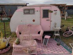vintage pink camper