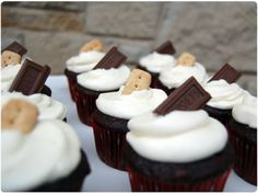camping themed birthday party.  smores cupcakes & favors.