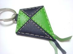 Lovely Kite Leather Keychain Green / Black by leatherprince,