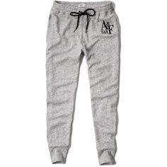 Abercrombie & Fitch Jogger Sweatpants ($23) ❤ liked on Polyvore featuring activewear, activewear pants, pants, bottoms, sweatpants, sweats, jeans, light heather grey, abercrombie fitch sweatpants and drawstring sweatpants