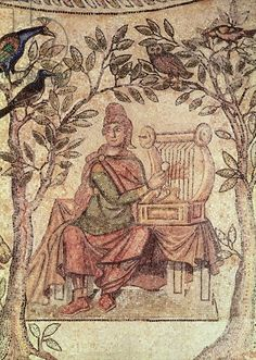 Detail of Orpheus charming the animals, from the site of Blanzy (mosaic) Roman, (4th century AD)  Musee Municipal, Laon, France