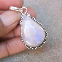 925 Silver Rainbow Moonstone Pendant Necklace by FineSilverStudio