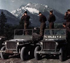 WWII color photo of jeeps of the 327th Glider Infantry Regiment of the 101st Airborne Division. (U.S. Air Force Photo)