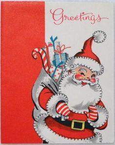 Vintage Christmas Card - Santa Greetings