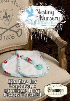 Learn the basics to binding and make a cute boutique style burp cloth with this free pdf pattern with video tutorial.