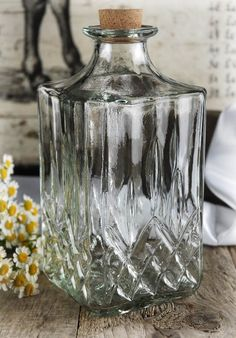 $4.99 for whiskey Clear Diamond Pattern Glass Bottle