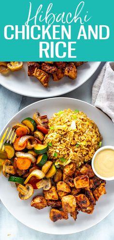 Perfect Hibachi Chicken {Benihana Copycat} - The Girl on Bloor Hibachi Recipes, Benihana Hibachi Chicken Recipe, Hibachi Vegetables Recipe, Asian Recipes, Healthy Recipes, Griddle Recipes, Chicken And Vegetables, Sauteed Vegetables, Asian Food Recipes