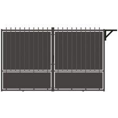 Portail aluminium coulissant Crête festonne, gris zingué, 185x300cm