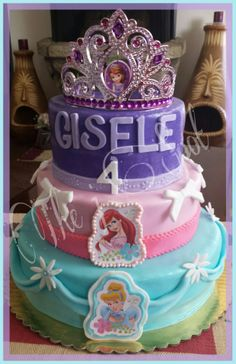 Disney Princess Cake. Cinderella, Ariel and Sophia were the choices for this amazing cake.