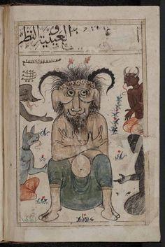 Demonio islámico, haciendo el signo de los cuernos. Fuente: Kitab al-Bulhan, el Libro de las Maravillas, manuscrito del siglo XIV