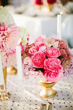 Pink Centerpieces with Gold & Crystal Accents | On Style Me Pretty: http://www.stylemepretty.com/2013/01/22/san-diego-rooftop-wedding-from-birds-of-a-feather-photography/  Birds of a Feather Photography