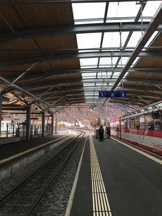 Station in Zermatt April 2016 by Zermatt, Railroad Tracks, Basketball Court, Train Tracks