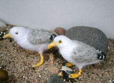 needle felted seagulls