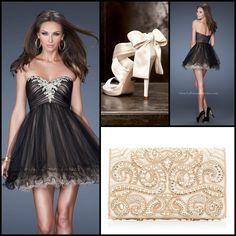 La Femme style 19457 black and nude - little black dress - cocktail dress - black and nude dress - homecoming dress - prom dress - holiday dress - beaded handbag - white purse - white bow heels