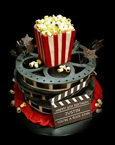 Movie Theater Birthday party. Cool cake @amyjanethogan