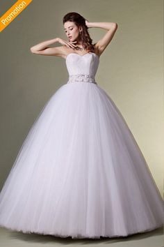 Simple Tulle Strapless Floor-length Ball Gown Wedding Dress JSWD0216