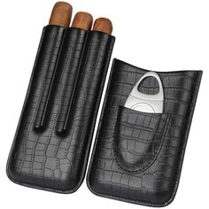 Cohiba Crocodile Leather 3 Tube Cigar Tube W Cutter – Cedar Humidor