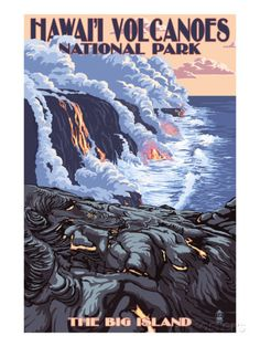 The Big Island, Hawaii - Lava Flow Scene Poster von Lantern Press bei AllPosters.de