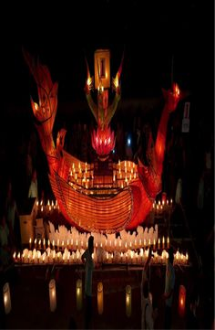 The Lai Heua Fai (Festival of the Fire Boats) also known as the Festival of Lights is one of the biggest festivals in Laos. Luang Prabang, Festival Lights, Ways To Travel, Laos, Temple, Fair Grounds, Community, Fire, World