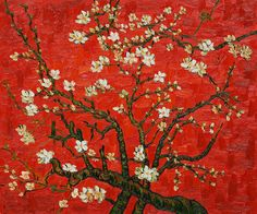 Vincent van Gogh Branches of an almond tree in Blossom in Red painting is shipped worldwide,including stretched canvas and framed art.This Vincent van Gogh Branches of an almond tree in Blossom in Red painting is available at custom size. Renoir, Vincent Van Gogh, Art Van, Claude Monet, Art Et Illustration, Illustrations, Van Gogh Pinturas, Van Gogh Paintings, Art Japonais