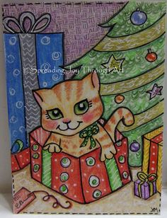 ACEO Original Art Joy Christmas Cat Kitty Kitten Present Gift Tree Ornament Cute #Myown