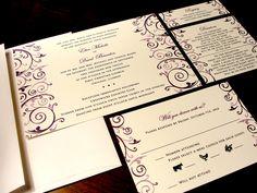 Classic Elegance Custom Color Wedding Invitation Spring Summer Fall Winter Purple Eggplant Flourish Damask Horizontal Leaves Flower Floral by PrEttYLiLNoTeS, $2.50