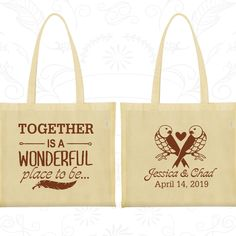 Together is a Wonderful Place to Be, Promotional Cotton Canvas Tote, Love Birds, Romantic Wedding Bags, Wedding Tote (397)