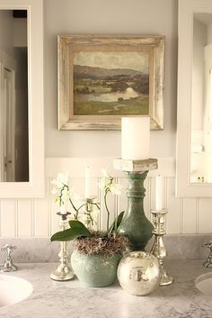 sage green bathroom decor- perfect for our master bath Chic Bathrooms, Country Bathrooms, Diy Décoration, Bath Decor, Room Decor, Cool Ideas, Bathroom Styling, Beautiful Bathrooms, Home Staging
